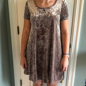 Socialite taupe crushed velvet dress